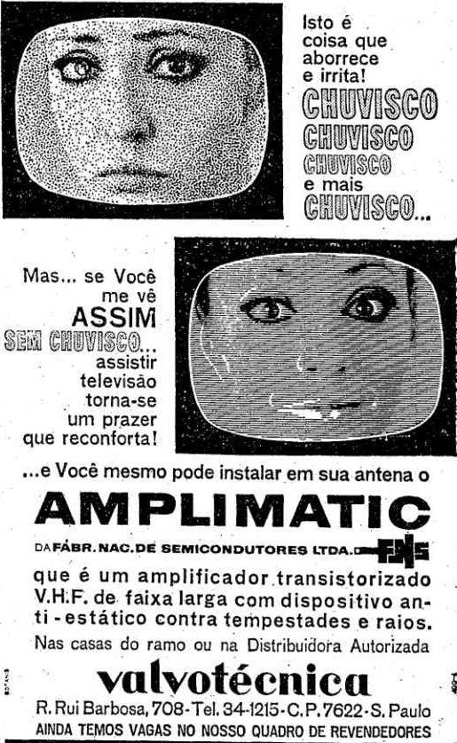 Propaganda de amplificador de sinal de TV no final dos anos 60