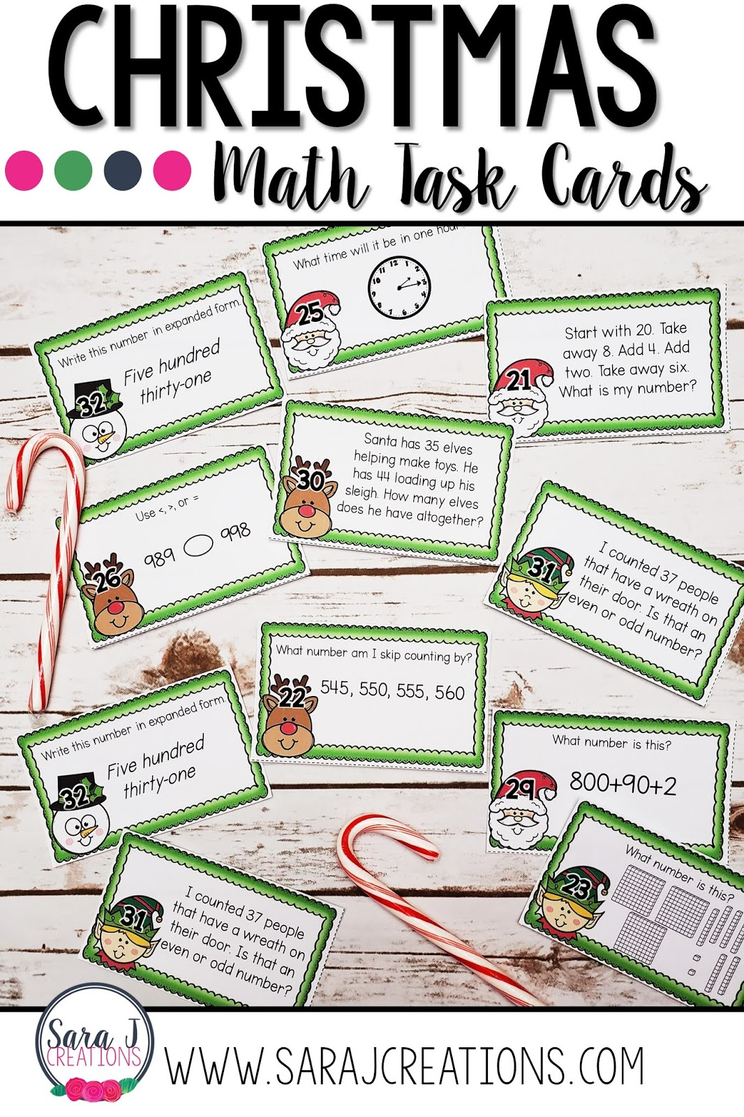 Christmas math task cards are SO fun for reviewing a variety of topics. From place value, to time and money, to addition and subtraction, to story problems all with a fun Christmas theme! Designed for second grade but could work for third grade too!