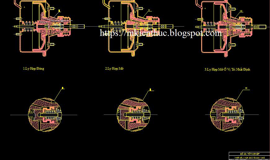 Bản vẽ nguyên lý hoạt động thiết kế ly hợp ô tô con 7 chỗ