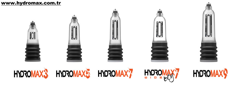 Bathmate Hydromax series penis pumps: Hydromax 3, 5, 7, 7 wide boy, 9