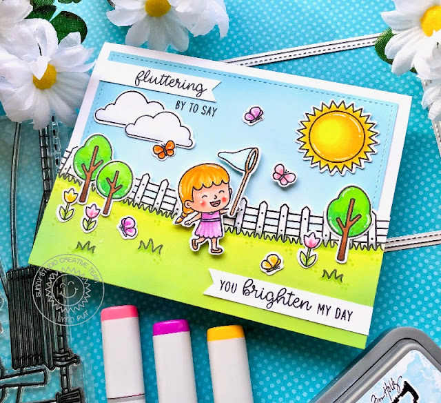 Sunny Studio Stamps: Spring Scenes Spring Showers Frilly Frame Dies Spring Themed Everyday Card by Lynn Put