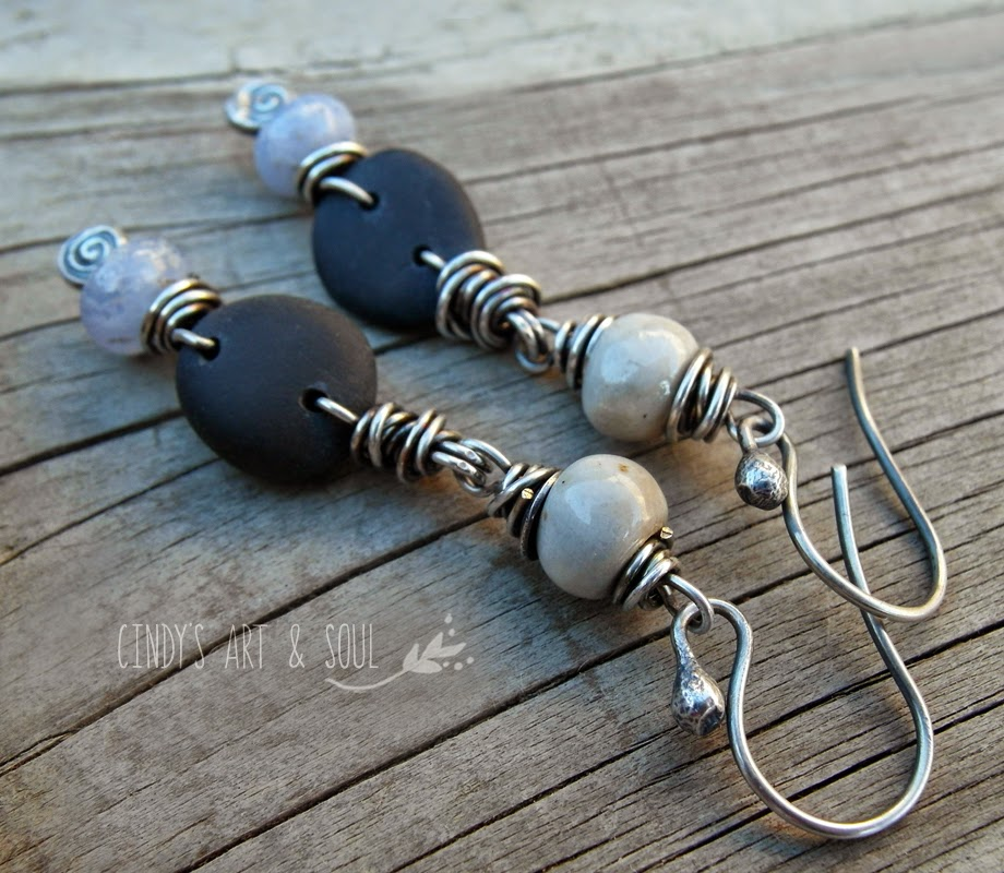 http://www.artandsouljewelry.com/products/gray-black-periwinkle-stone-earrings
