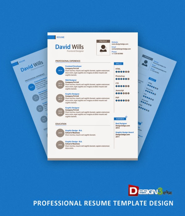 Professional Resume Template Design PSD