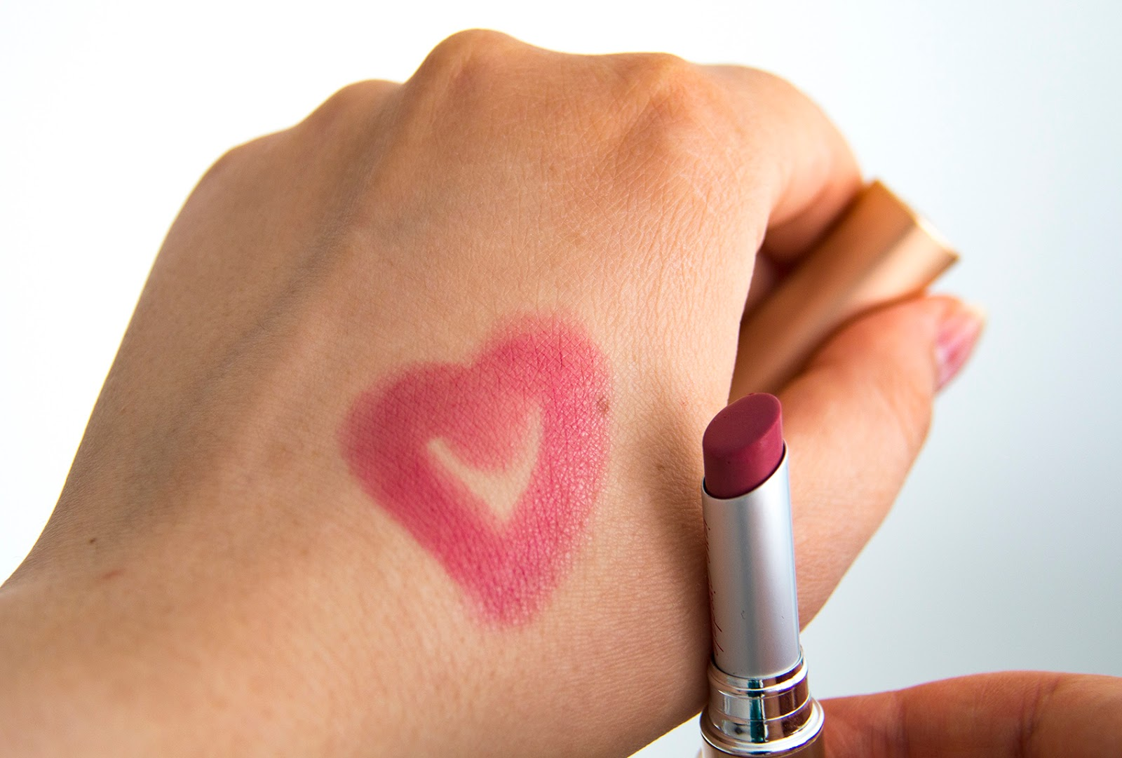 Jane Iredale PureMoist Lipstick in Susan swatch in heart