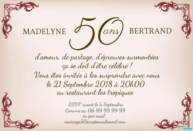 modele texte invitation anniversaire 50 ans de mariage. Black Bedroom Furniture Sets. Home Design Ideas