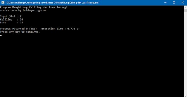 Program C Menghitung Keliling dan Luas Persegi