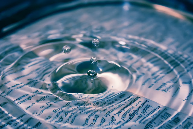 drop of water in book