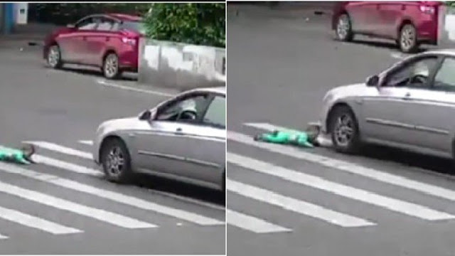 Shocking: This Baby Fell off a Tricycle and This Is What Happened When a Car Passed By. What a Miracle!
