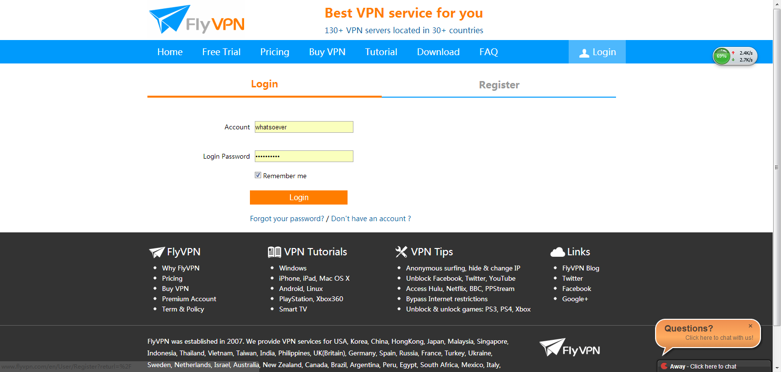 Log in with your own account to get FlyVPN servers's IP addresses