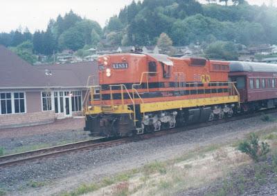 Portland & Western SD9R #1851 in Rainier, Oregon, on May 16, 1999