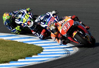 Marc Marquez, Jorge Lorenzo y Valentino Rossi en Motegi