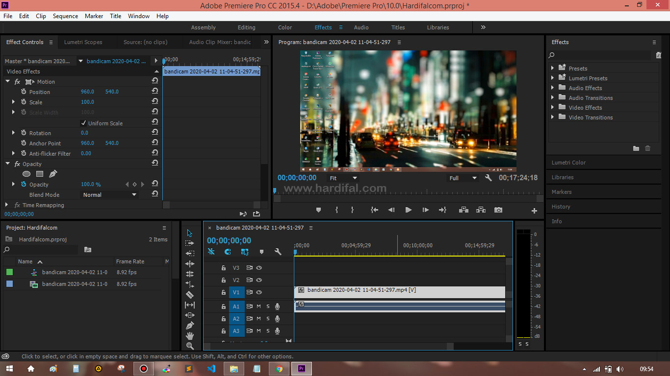 Setting sequence adobe premiere untuk youtube