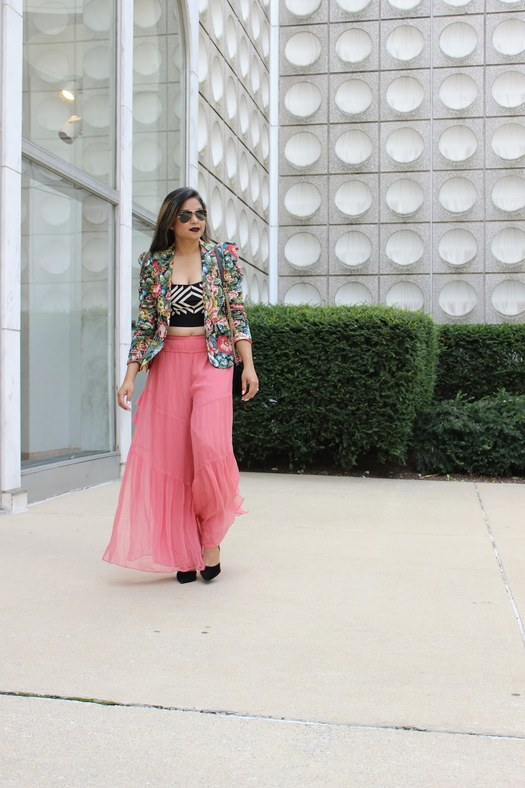 confidence is sexy, crop top, slit pants, pink wide leg trouser, fashion , street style, bold black lips, myriad musings
