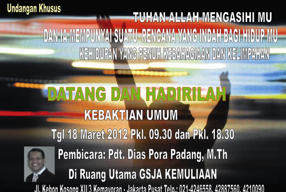 BROSUR UNDANGAN KEBAKTIAN GSJA KEMULIAAN 18 Maret 2012