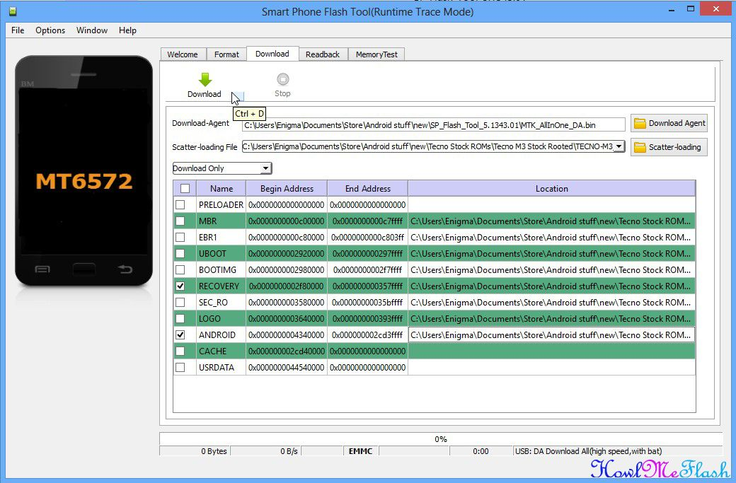 Begin Stock Rom Flash Process