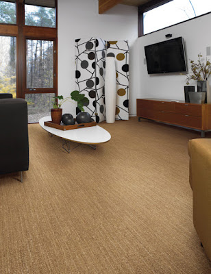 Subtle and textured patterned carpet in family room