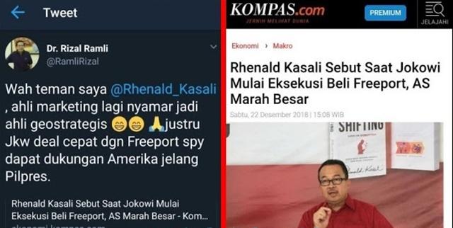 Rizal Ramli: Justru Jokowi Deal Cepat dengan Freeport Supaya Dapat Dukungan AS Jelang Pilpres