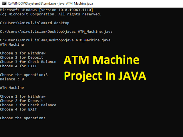 ATM Machine Project in Java