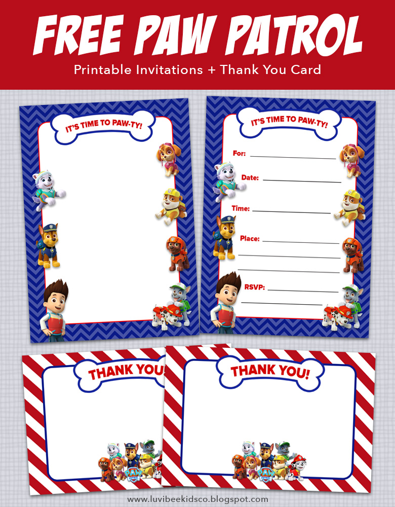 image about Printable Paw Patrol Invitations known as Paw Patrol Birthday Invites + Totally free Printables