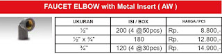 Harga sambungan pipa air pvc Rucika standard ukuran 1/2 inch