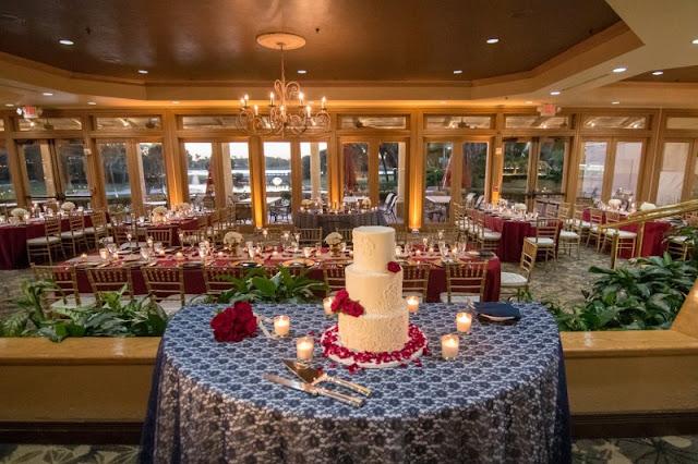 wedding cake and reception setup