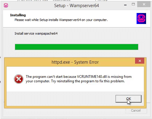the program cant start because vcruntime140.dll is missing from your computer apache