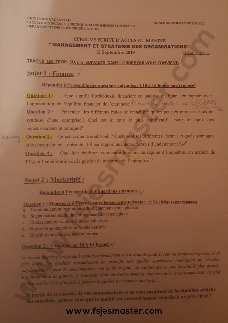 Exemple Concours Master Management et Stratégie des Organisations (MSO) 2019-2020 - Fsjes Marrakech
