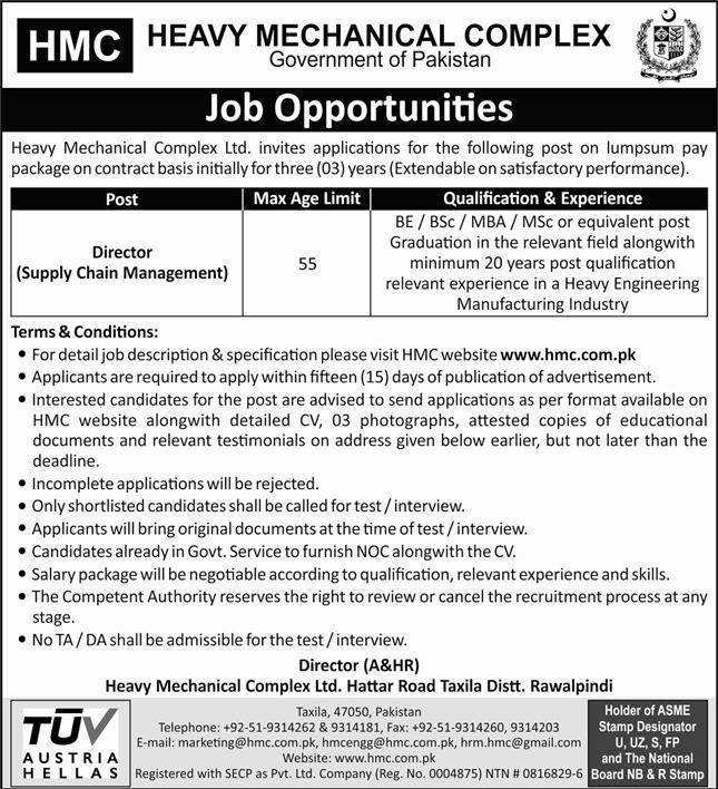 Heavy Mechanical Complex Taxila Jobs