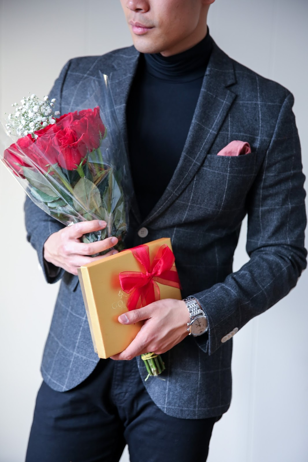 Black Turtleneck for Valentine's Day, Romantic Menswear outfit, Roses and Godiva Chocolate,