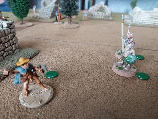 The Satyrs start to threaten the Saprtans