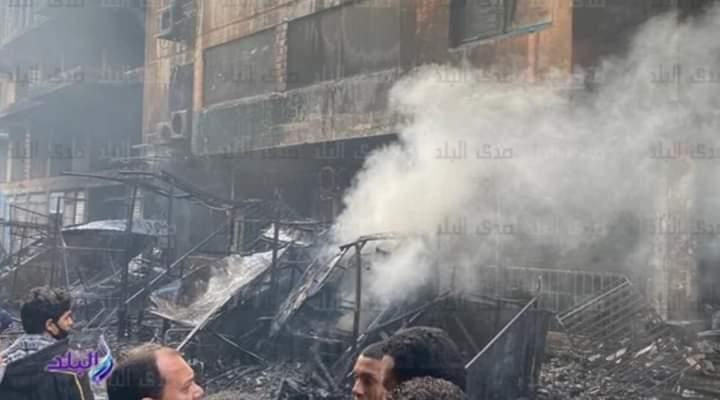 تفحم 12 محلا وكشكا إثر حريق ضخم بسوق التوفيقية في وسط القاهرة