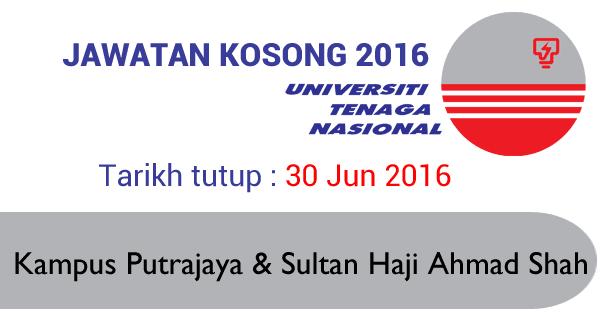 Jawatan Kosong Universiti Tenaga Nasional UNITEN 30 Jun 2016