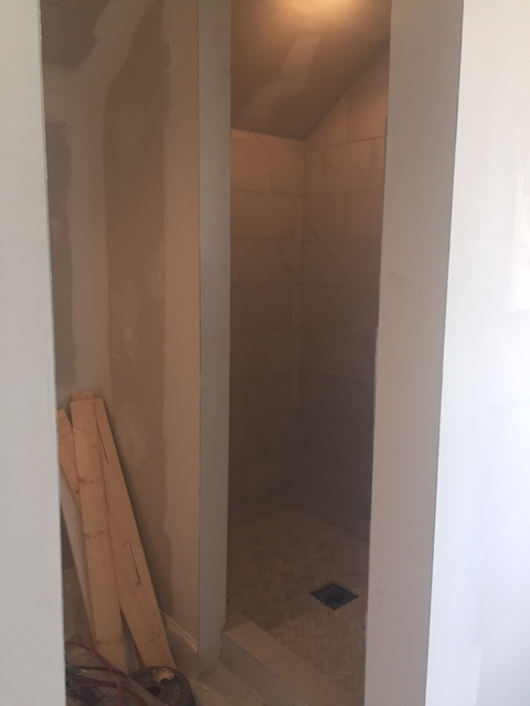 Shower under construction in fixer upper - Hello Lovely Studio