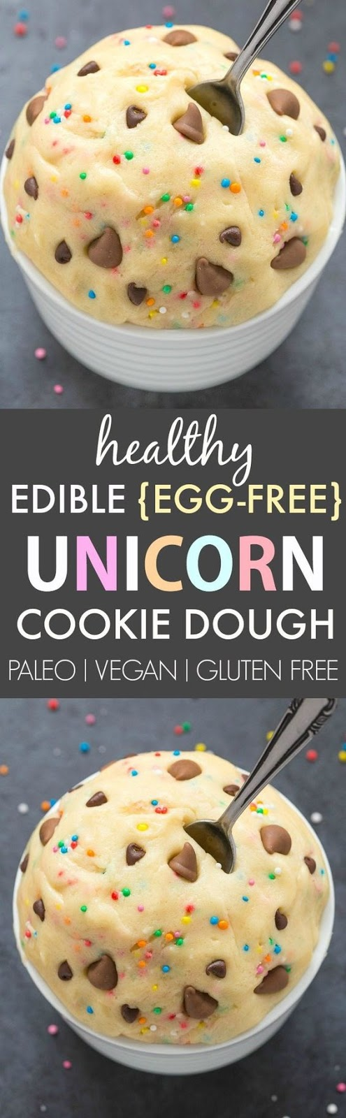 Healthy edible egg-Free Unicorn Cookie Dough