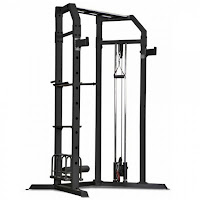 Marcy Olympic Strength Cage SM-3551, with pull up bar, weight trolley, pulley system, commercial-style bar catches, abdominal crunch station, dip bars and leg anchors