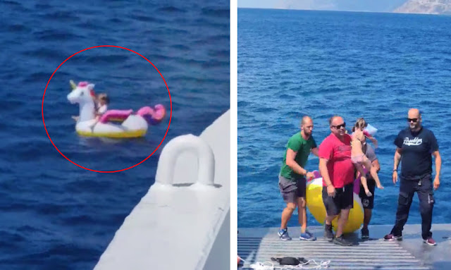 Clinging to Unicorn Float Is Rescued From Sea in Greece