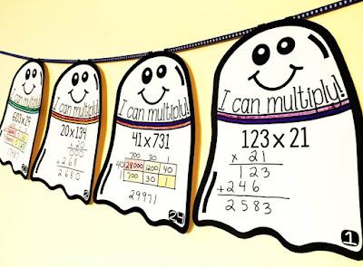 Multiplication Math Pennant Activity for Halloween (3x2 digit)