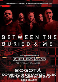 Concierto de BETWEEN THE BURIED & ME en Bogotá