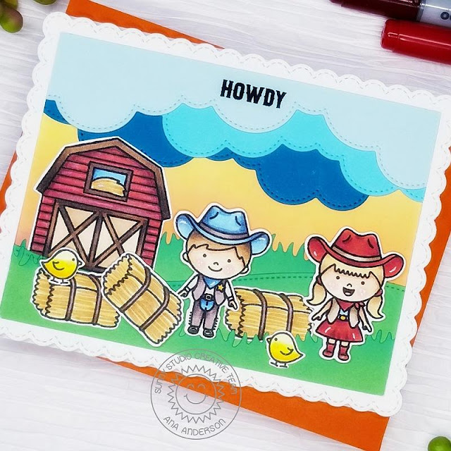 Sunny Studio Stamps: Little Buckaroo Slimline Dies Fancy Frames Friendship Card by Ana Anderson