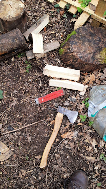 Image shows split logs, an axe and a red metal wedge lying on the ground.  There are other logs in the picture, and leaf debris