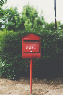 red wooden mailbox near green leaf plant photo