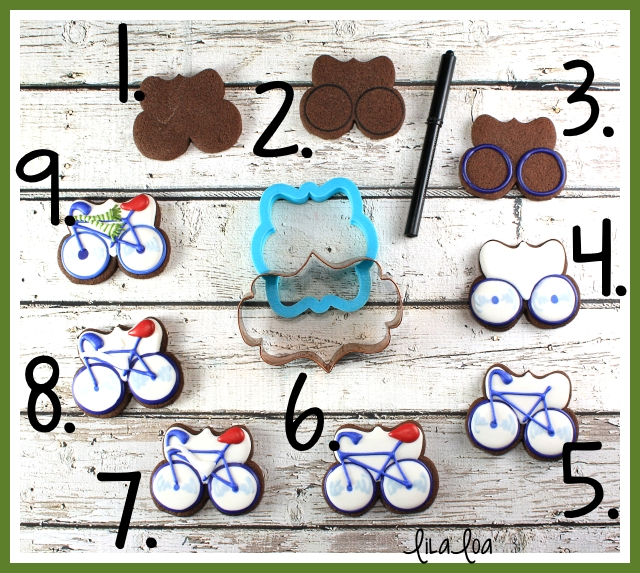 cookie decorating tutorial -- bike cookies