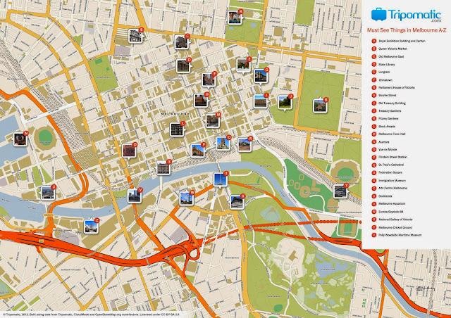 Mapa turístico de Melbourne