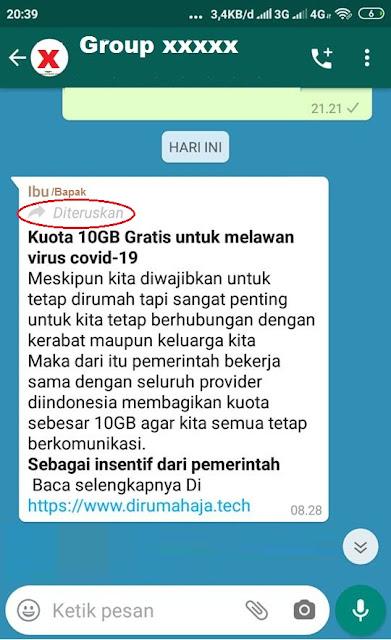 Viral Pesan Di Whatsapp Pemerintah Beri Kuota Gratis 10 Gb Ini