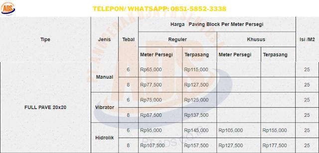 Harga Fullpave 20x20 Depok dan Juga Jasa Pasang Conblock Per M2