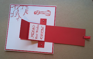 Red and white Japanese style waterfall card (unfolded)