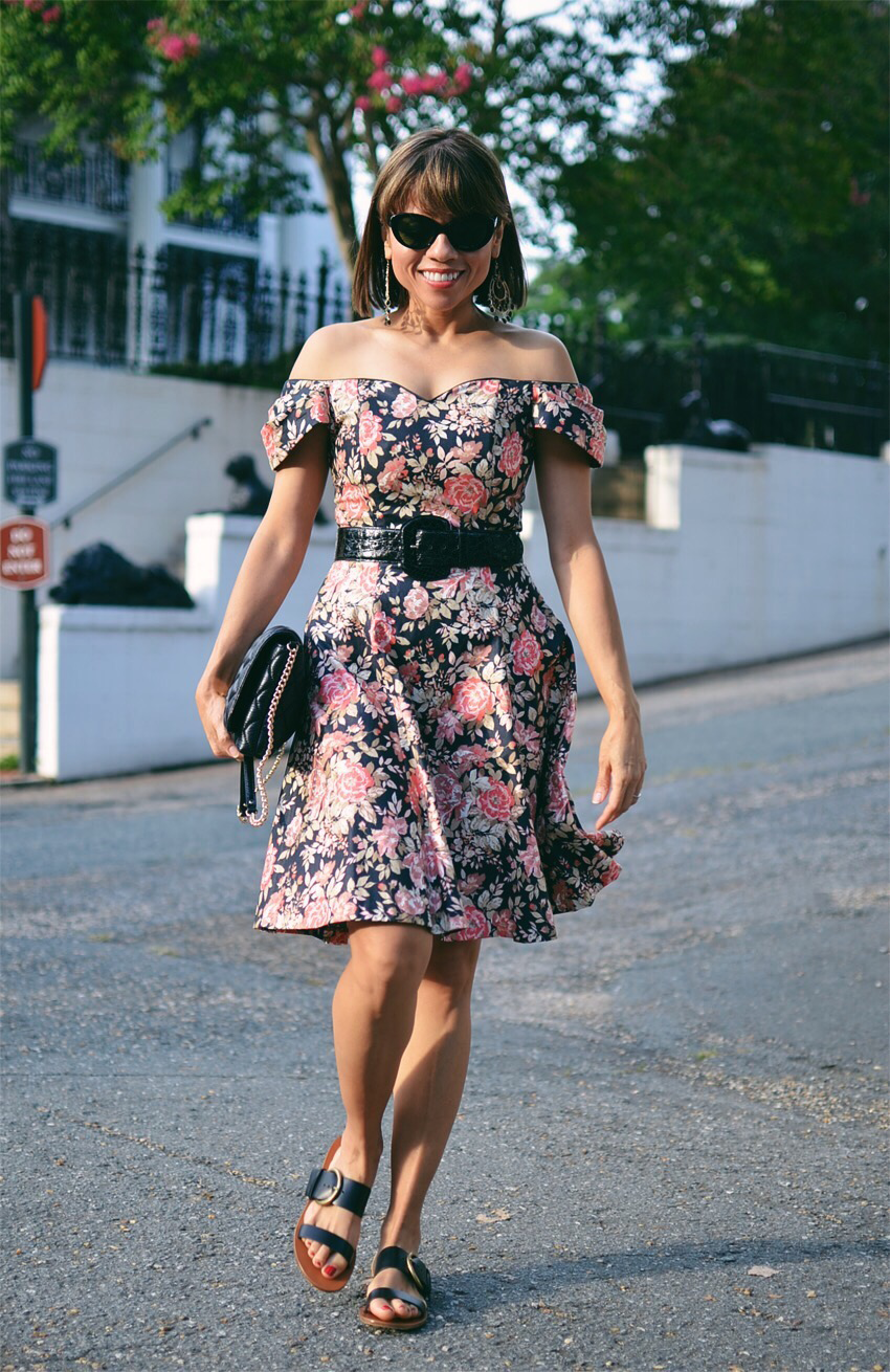Black Floral Dress Street Style