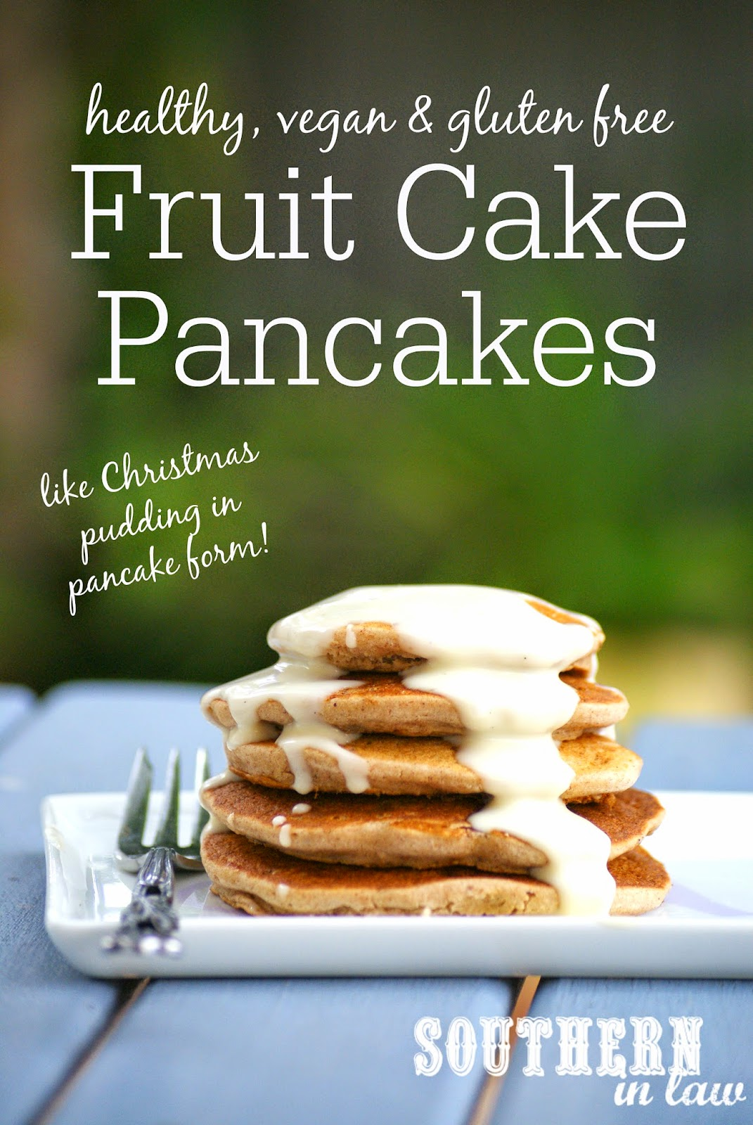 Vegan Fruit Cakes Pancakes Recipe for Christmas - low fat, gluten free, vegan, healthy, sugar free, dairy free, egg free