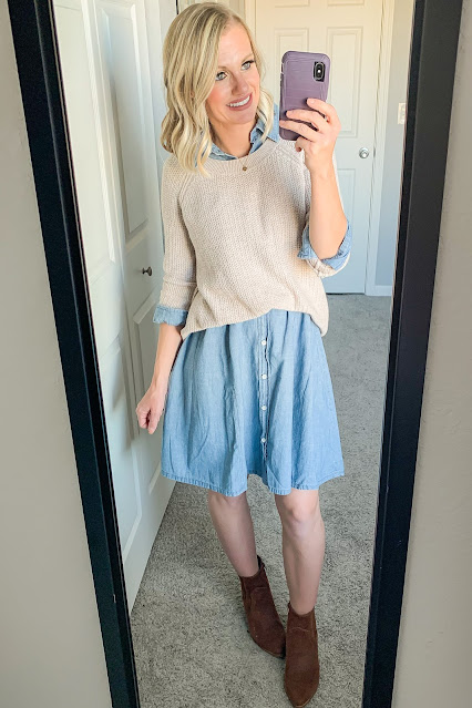 Thanksgiving outfit idea with denim dress and sweater