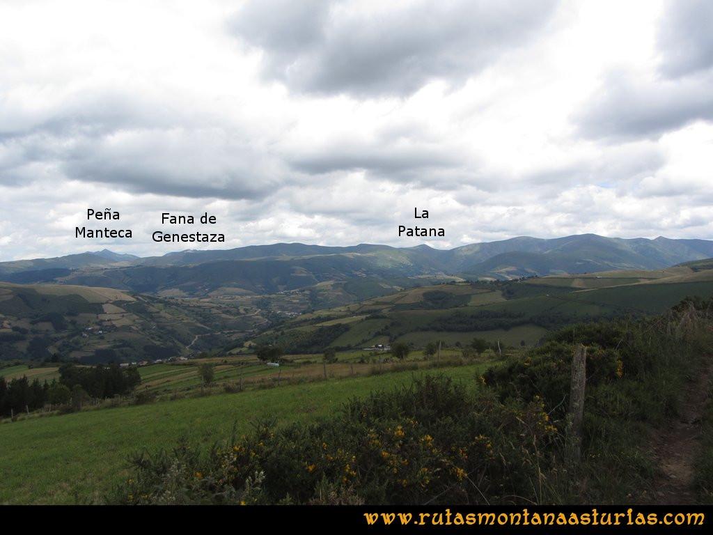Ruta Cangas - Acebo: Vista de Peña Manteca, Fana de Genestaza y la Patana